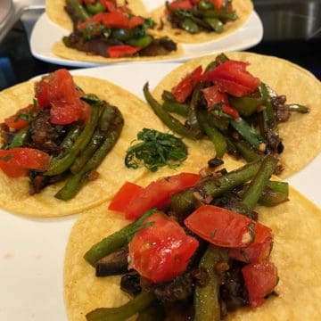 Corn Tortillas with mushroom and peppers final plating