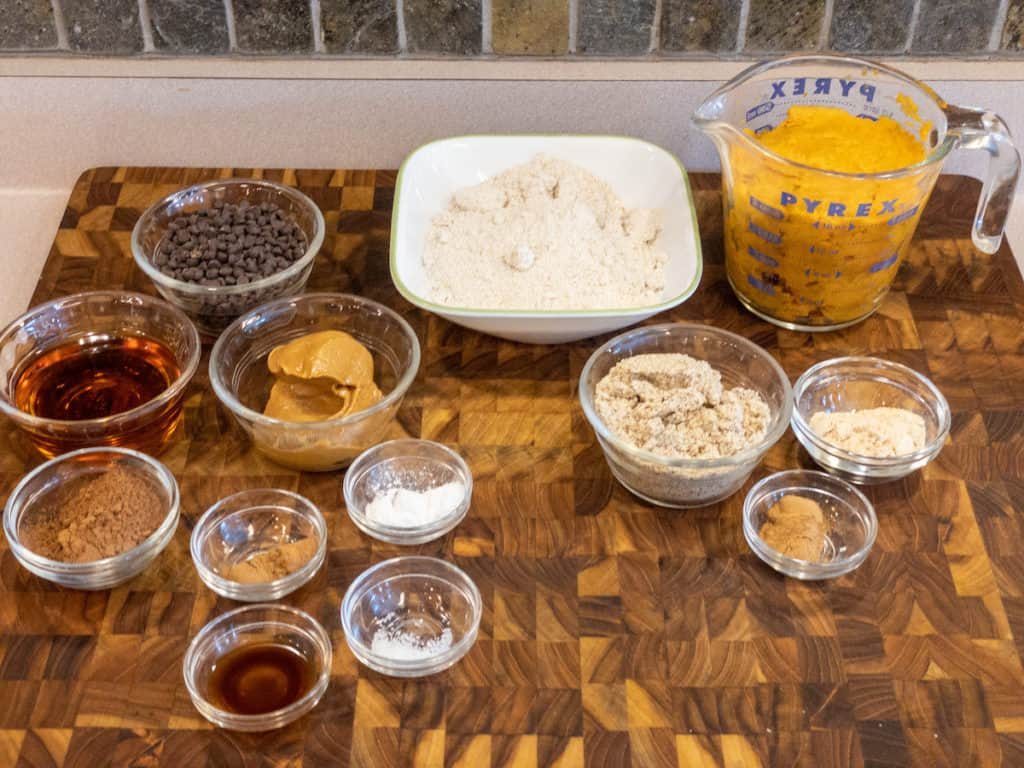 mise en place for chocolate cinnamon sweet potato cake bites