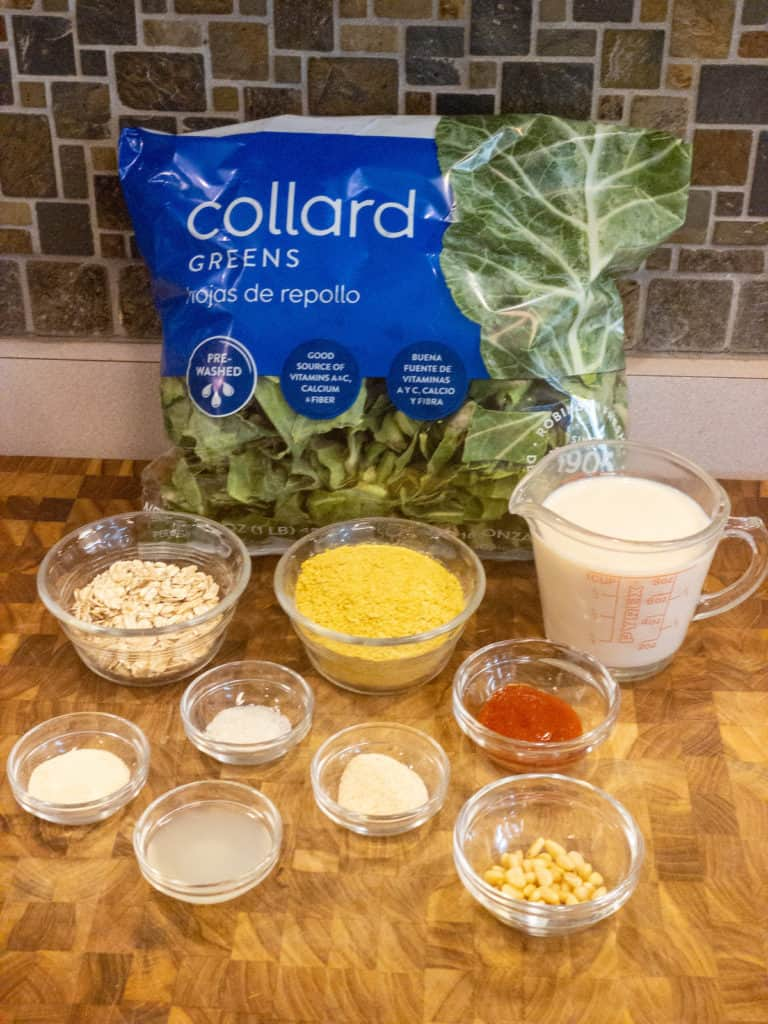 cheezy 'cheesy' collard greens mise en place