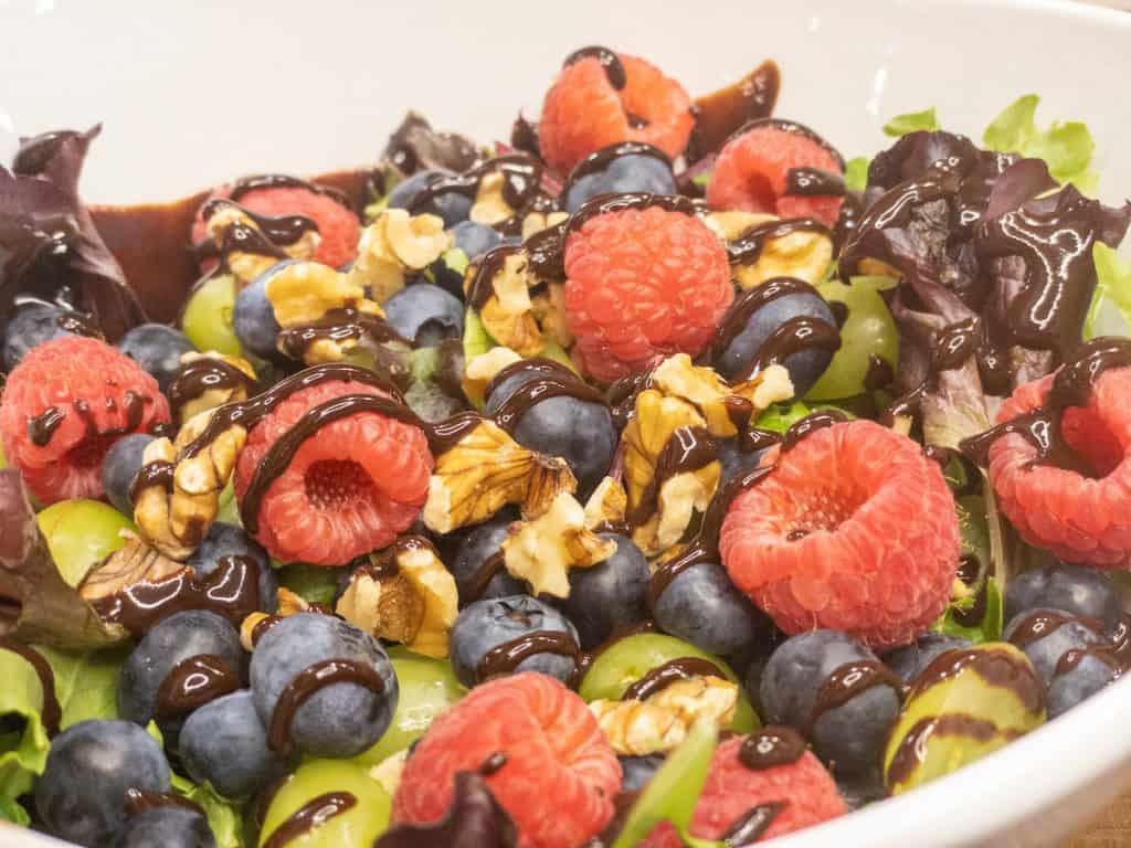closeup of chocolate orange berry salad