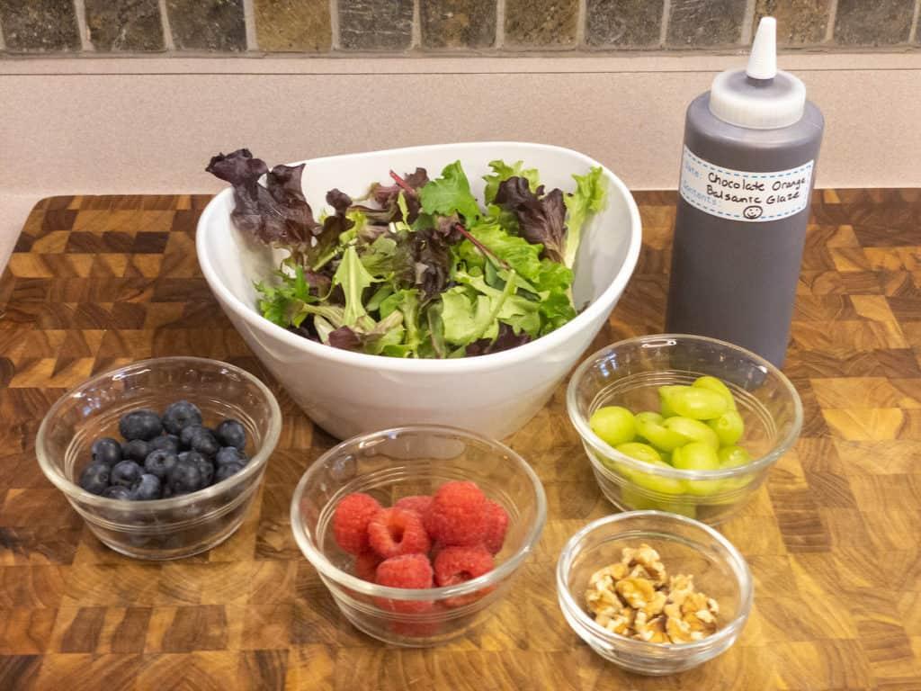 chocolate orange berry salad mise en place