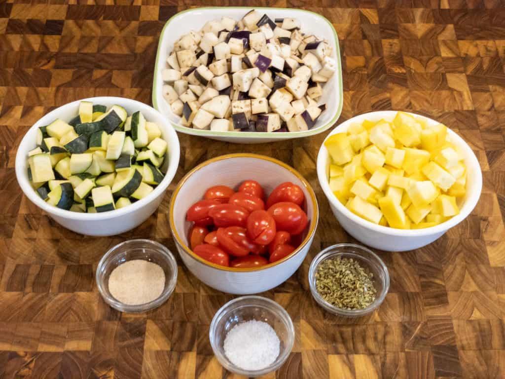 Easy ratatouille veggie bowl mise en place