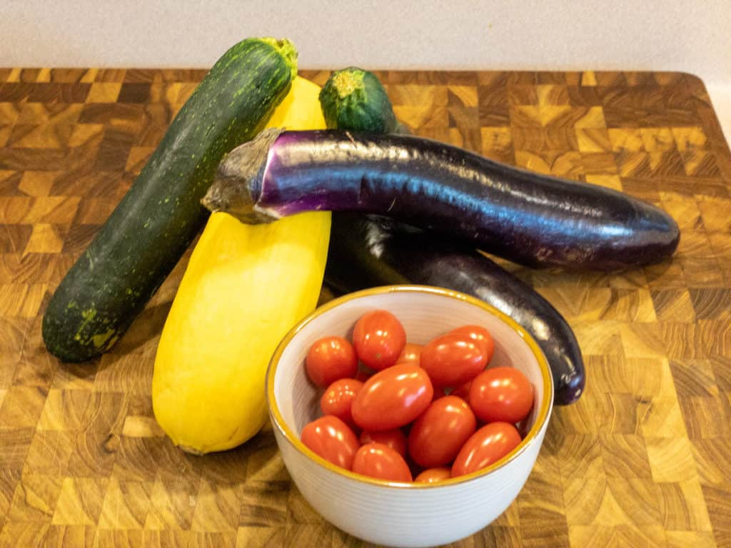 Easy Ratatouille Vegetables on Cutting Board
