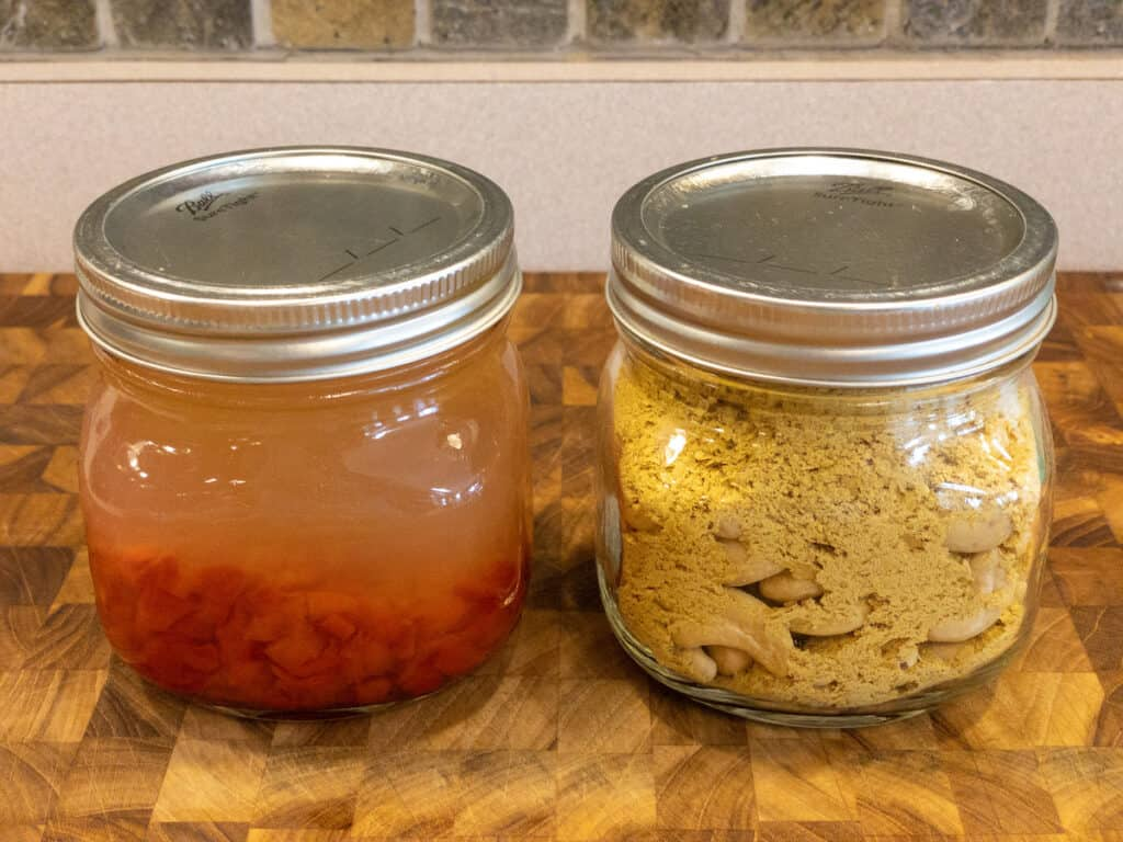 dairy free cheese sauce wet and dry ingredients in separate jars