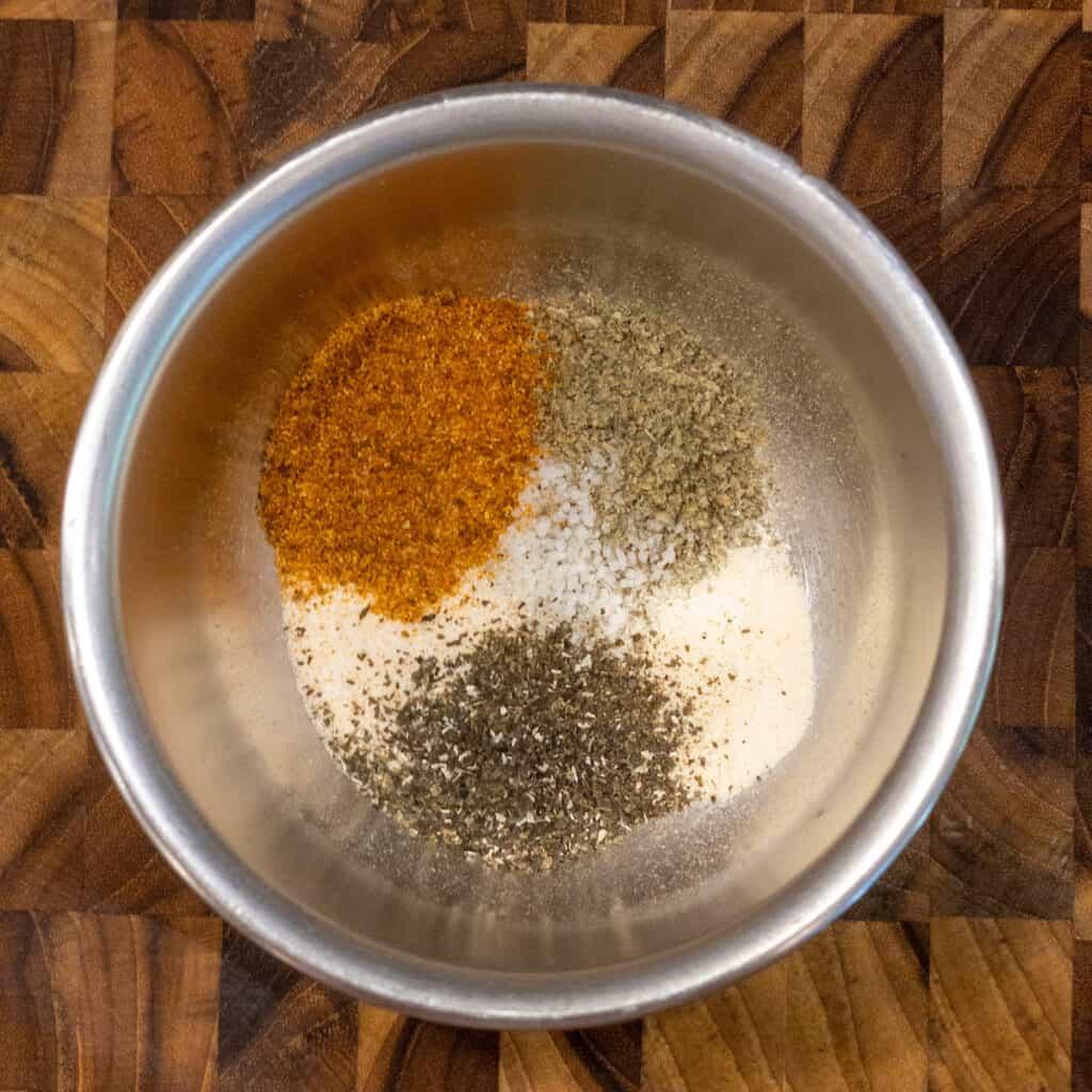 veggie spices in small silver bowl