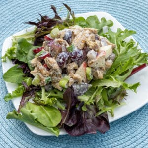 WFPB Soy Curl Waldorf Salad over Greens on white plate
