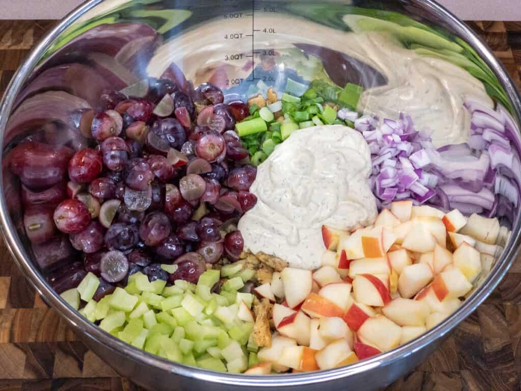 WFPB Soy Curl Waldorf Salad Ingredients in large stainless steel bowl