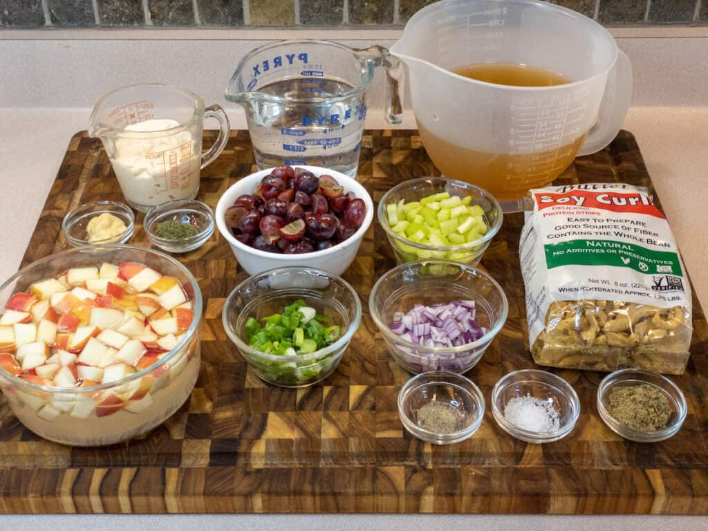 WFPB Soy Curl Waldorf Salad Mise en Place ingredients on cutting board