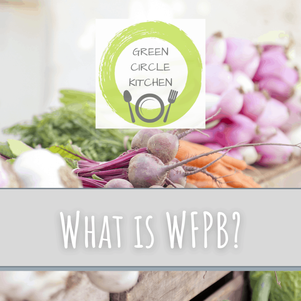 """green circle kitchen logo over pastel vegetables with wording """"What is WFPB?"""""""